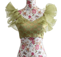 Ekta Solanki Saree Blouse ~ Sage Green Organza Ruffle ~ WAS £175 NOW £40