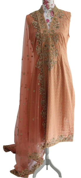 Ekta Solanki Suit ~ Peach and Gold Silk Banarsi  ~ WAS £580 NOW £180