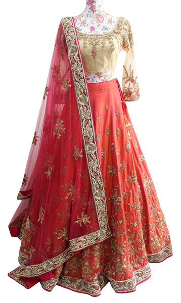 Ekta Solanki Lengha ~ Coral Orange and Gold Silk ~ WAS £3,650 NOW £795