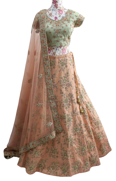 Ekta Solanki Lengha ~ Peach and Pistachio Green Silk ~ WAS £3,150 NOW £545