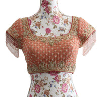 Ekta Solanki Saree Blouse ~ Peach Chikankari Beaded ~ WAS £320 NOW £185