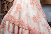 Ekta Solanki Lengha ~ Peach Ivory Lace Organza ~ WAS £4,875 NOW £1,250