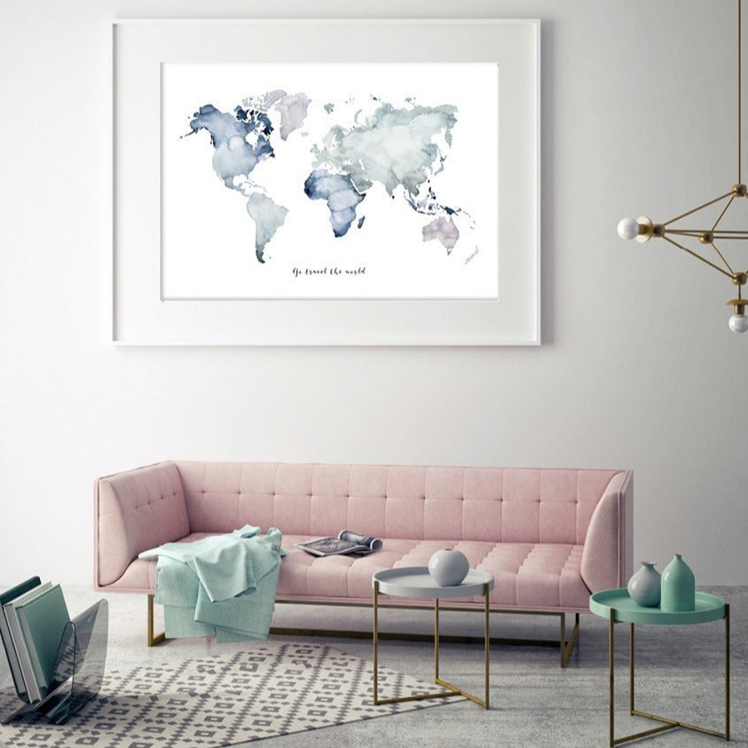 KUNSTDRUCK WELTKARTE | GO TRAVEL THE WORLD