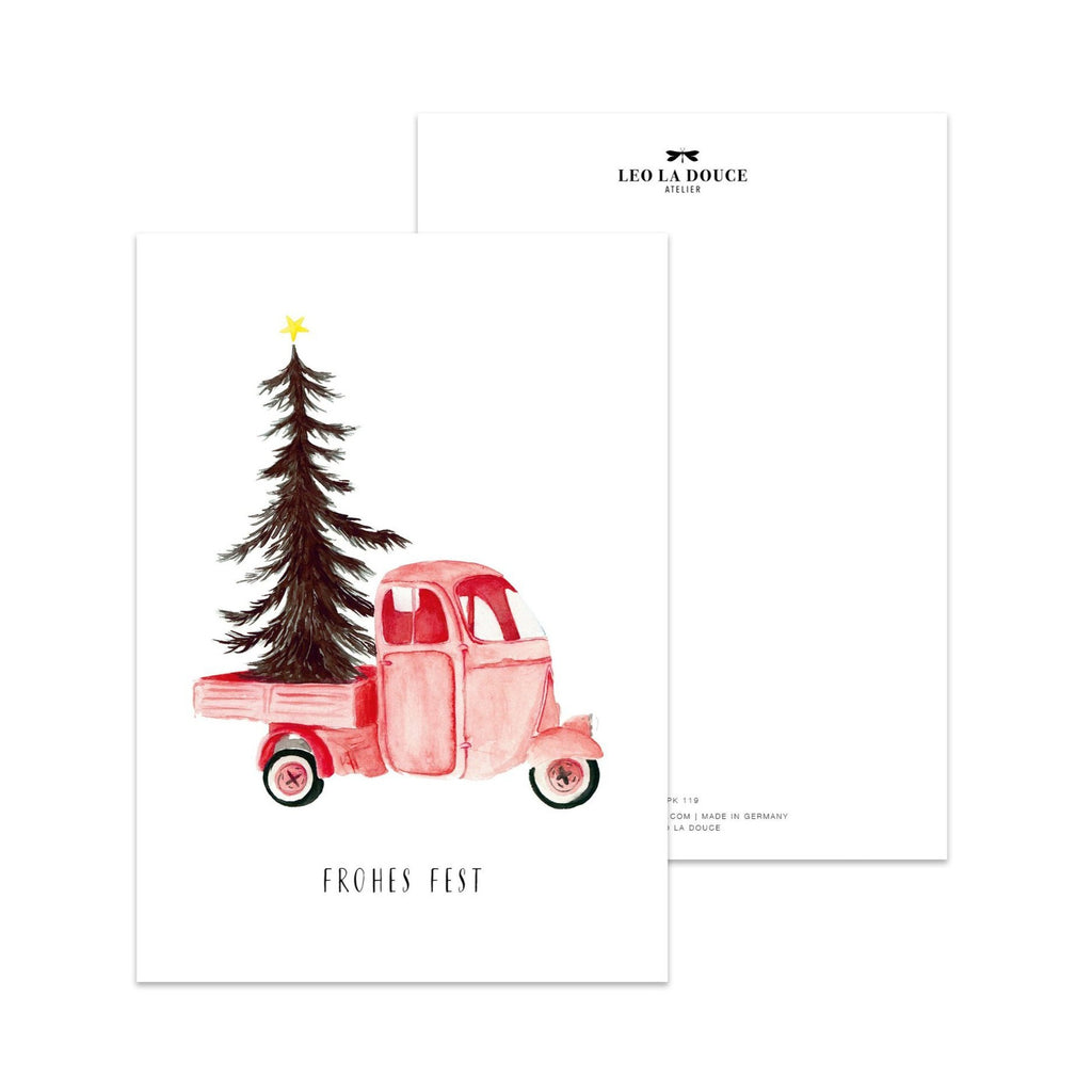 POSTKARTE CHRISTMAS VEHICLE