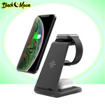 Load image into Gallery viewer, ⚡ 3-in-1 Universal Wireless iPhone & Samsung Galaxy Charging Stations - Black Moon Electronics