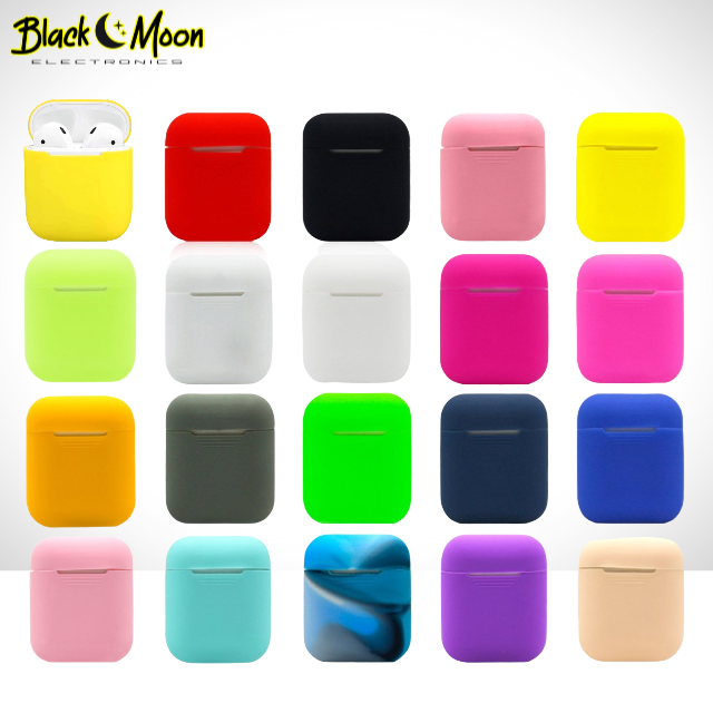 🌈 Classic AirPod Shockproof Soft Silicone Earphone Case - Black Moon Electronics