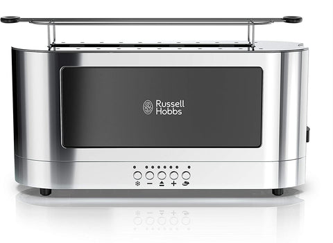 Russell Hobbs 2-Slice Glass Accent Long Toaster, Black & Stainless Steel, TRL9300BKR