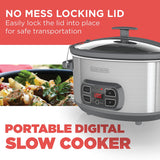 BLACK + DECKER 7qt Slow Cooker Stainless Steel Oval and Locking Lid, SCD1007D-2