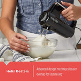 BLACK+DECKER Helix Hand Mixer, Premium Performance 5 Speed Hand Mixer, Includes 5 Attachments and Case, Black, MX600BC