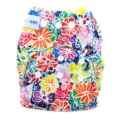 Baby Bare All In 2 Bare Cub Nappy In Bloom print