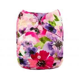 Floral print purple and pink Alva baby modern cloth nappy