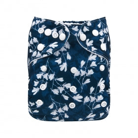 NAVY WHITE FLORAL ALVA BABY POCKET NAPPY, CLOTH DIAPER WITH BAMBOO INSERTS