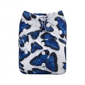 Alva baby modern cloth nappy navy butterfly print