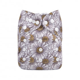 Alva baby cloth nappy sunflower print with bamboo inserts