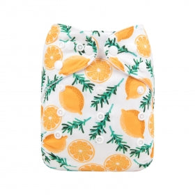 Alva Baby OSFM pocket cloth nappy Lemon print