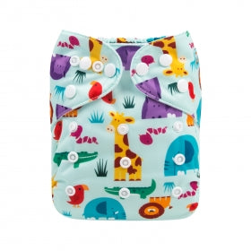 Eco friendly Alva baby modern cloth nappy safari print