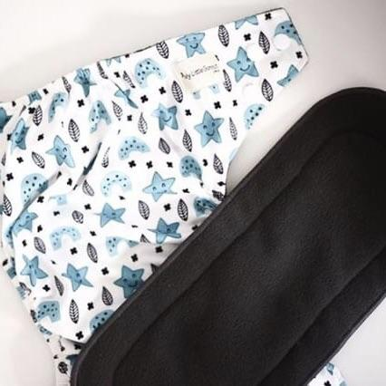 My Little Gumnut Night Nappy - Scandi Dreams with Charcoal Bamboo insert