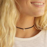 Choker Pave Crescent Moon or Feather