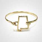 State Shape Wire Hinge Bangle Bracelet Gold Silver - Alabama