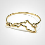 State Shape Wire Hinge Bangle Bracelet Gold Silver - Florida