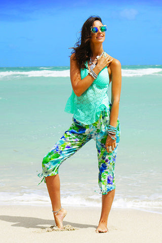 Capri Beach Pants - Green & Blue