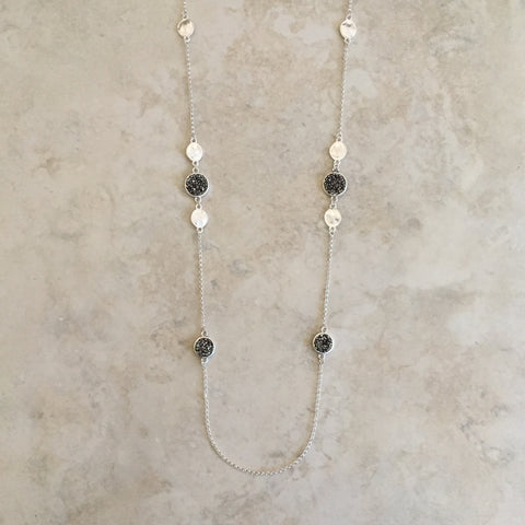 Druzy Station Necklace in Silver