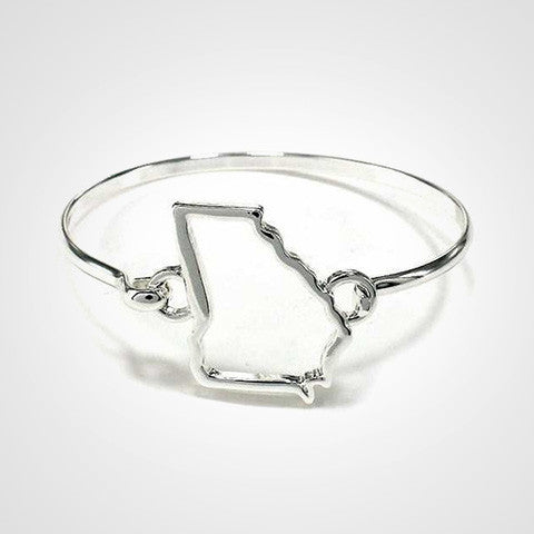 State Shape Wire Hinge Bangle Bracelet Gold Silver - Georgia