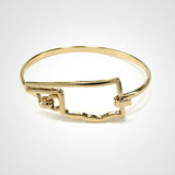 State Shape Wire Hinge Bangle Bracelet Gold Silver - Oklahoma