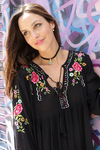 Embroidered Flowers Bohemian Mini Dress Black Tunic