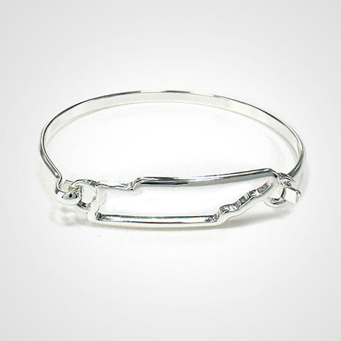 State Shape Wire Hinge Bangle Bracelet Gold Silver - Tennessee
