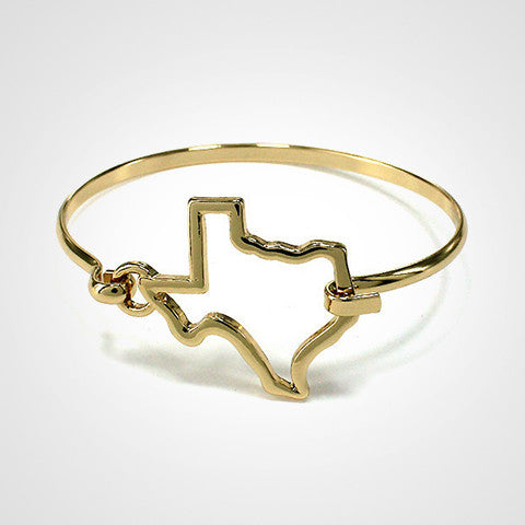 State Shape Wire Hinge Bangle Bracelet Gold Silver - Texas