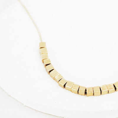 Golden Cubes Necklace - Gold Tone