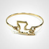 State Shape Wire Hinge Bangle Bracelet Gold Silver - Louisiana