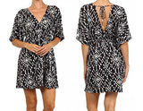 Tribal Boho Chic Shift Mini Dress In Black and White
