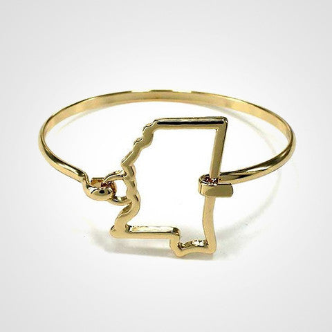 State Shape Wire Hinge Bangle Bracelet Gold Silver - Mississippi