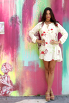 Mini Dress Off White with Embroidered Flowers Tunic
