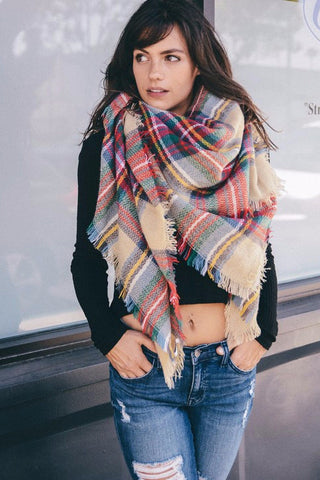 Plaid Blanket Scarf - Red Green Beige