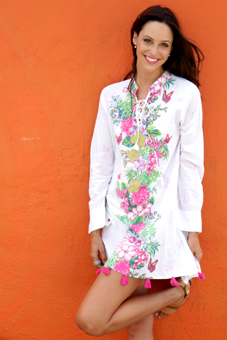 Boho Mini Dress White (with Pink) Tunic