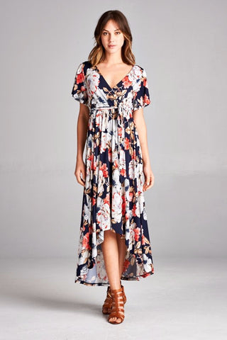 Navy Floral Wrap Hi-Lo Dress - Small-3XL