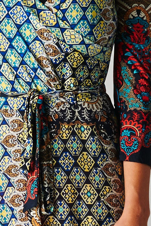Bohemian Shifting Wrap Maxi Dress Moroccan Quatrefoil Print