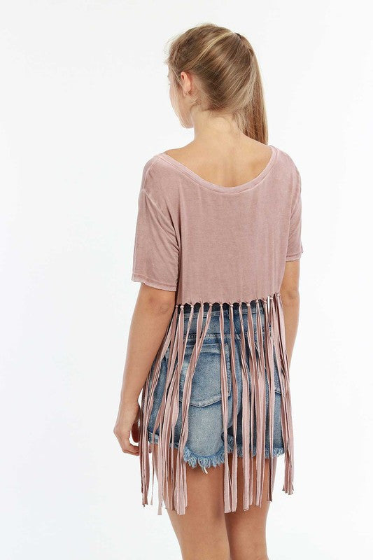 High low Fringe Trim Top in Mauve