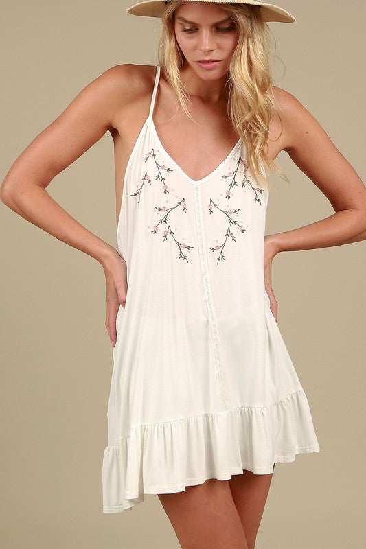 Floral embroidery tunic top with ruffle in White by POL