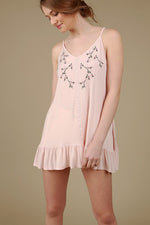 Floral embroidery tunic top with ruffle in Blush Pink by POL