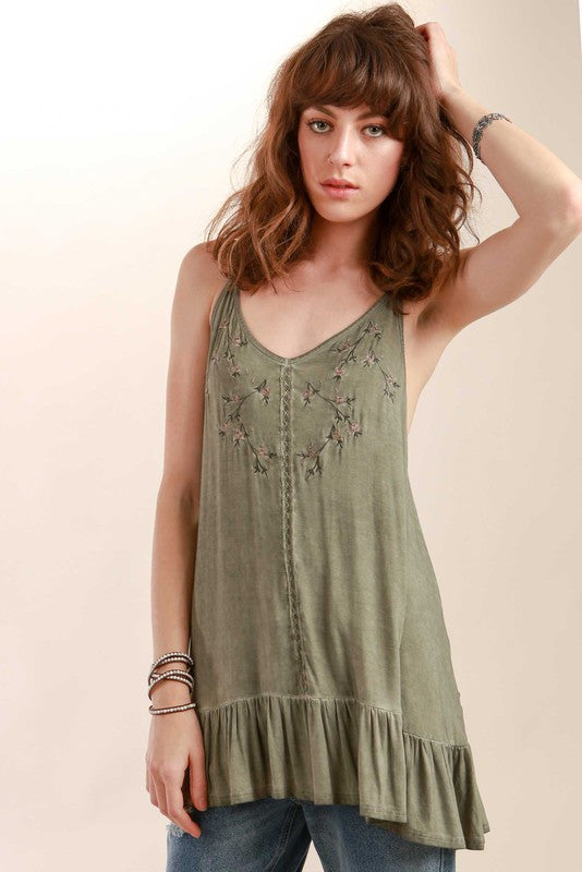 Floral embroidery tunic top with ruffle in Olive Green by POL