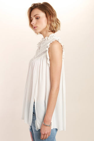 Victorian neck sleeveless, Lace detailed top - Ivory