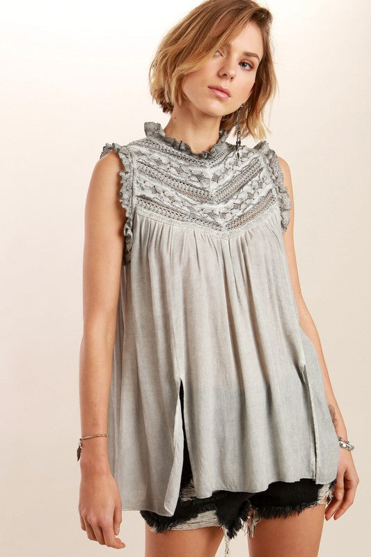 Victorian neck sleeveless Lace detailed top in Charcoal Gray By POL