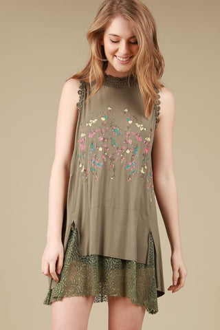 Embroidered Sleeveless Top Tunic Lace in Olive
