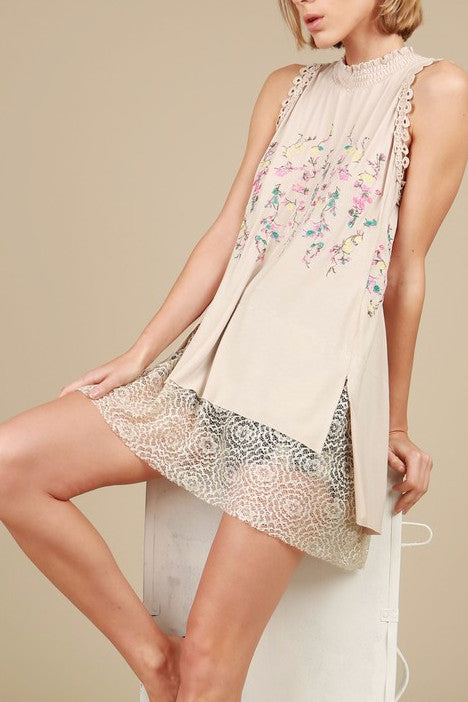 Embroidered Sleeveless Top Tunic Lace in Ivory