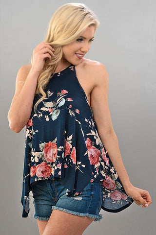 High Neck Floral Navy Flowy Tank Top