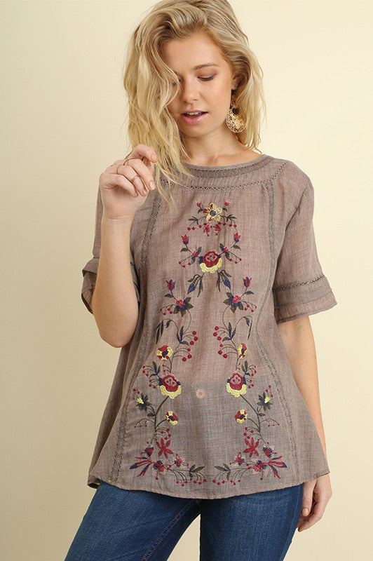 Short Sleeve Top with Floral Embroidery in Mocha